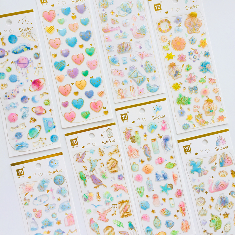 1 Sheet Crystal Epoxy Heart Starry Sky Castle Decorative Stickers Decoration