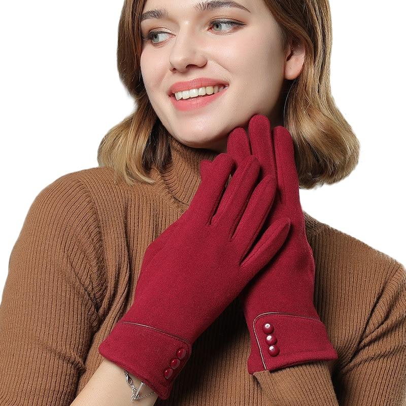 Sparsil Women Winter Velvet Touch Screen Gloves Warm Fleece Full Finger Cashmere Mittens Windproof Elegant Glove Female Girl