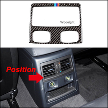цена на Wooeight Carbon Fiber Rear Air Condition Vent Outlet Cover Trim Frame Sticker fit for BMW 3 Series 2005-2008 2009 2010 2011 2012