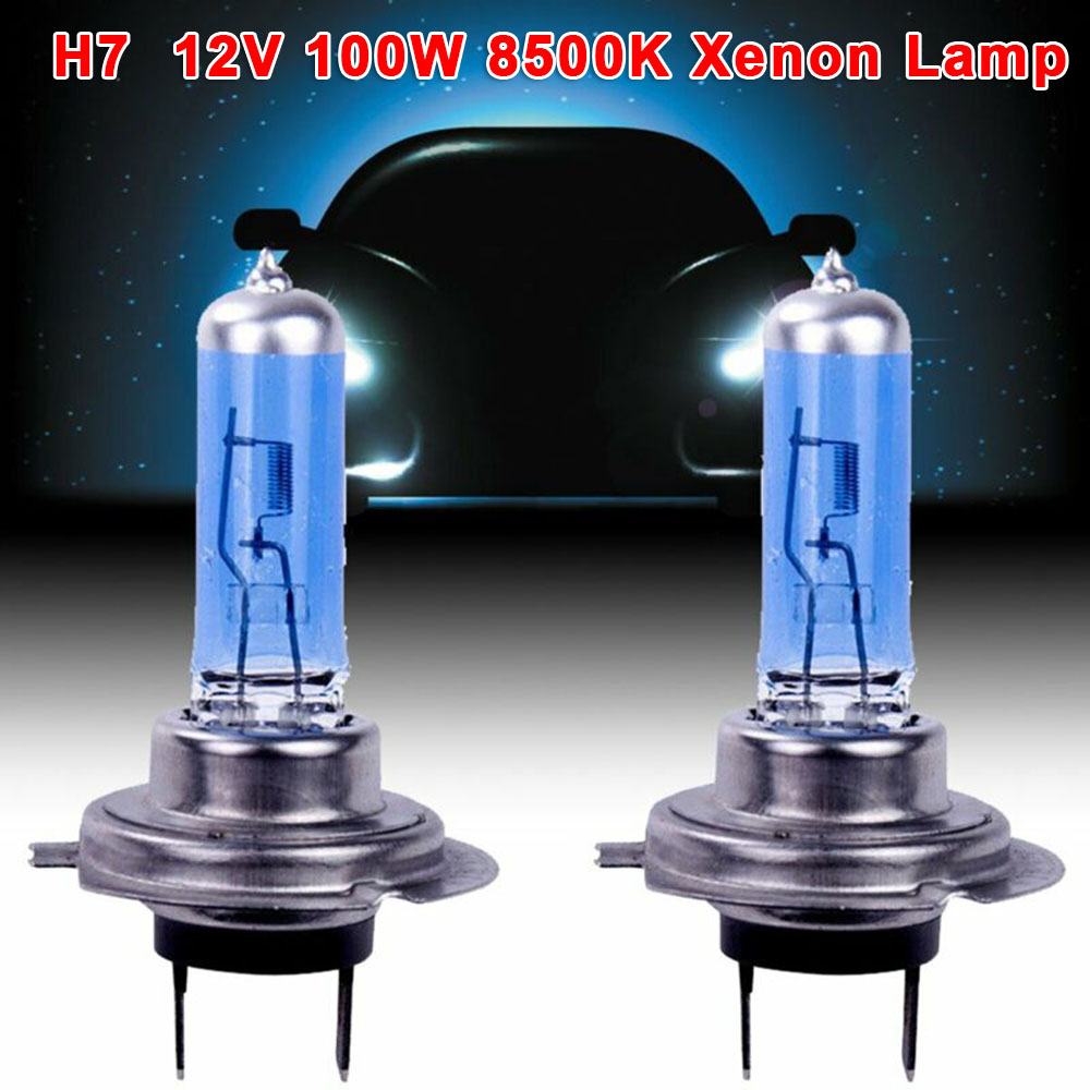 2pcs High Quality White 12V H7 100W 8500K Xenon Lamp Super Bright Halogen Car Headlight Bulbs Energy Saving