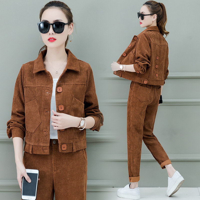Corduroy Casual Sports Clothing WOMEN'S Suit Spring And Autumn 2019 New Style Korean-style Fashion WOMEN'S Dress Large Size Hood