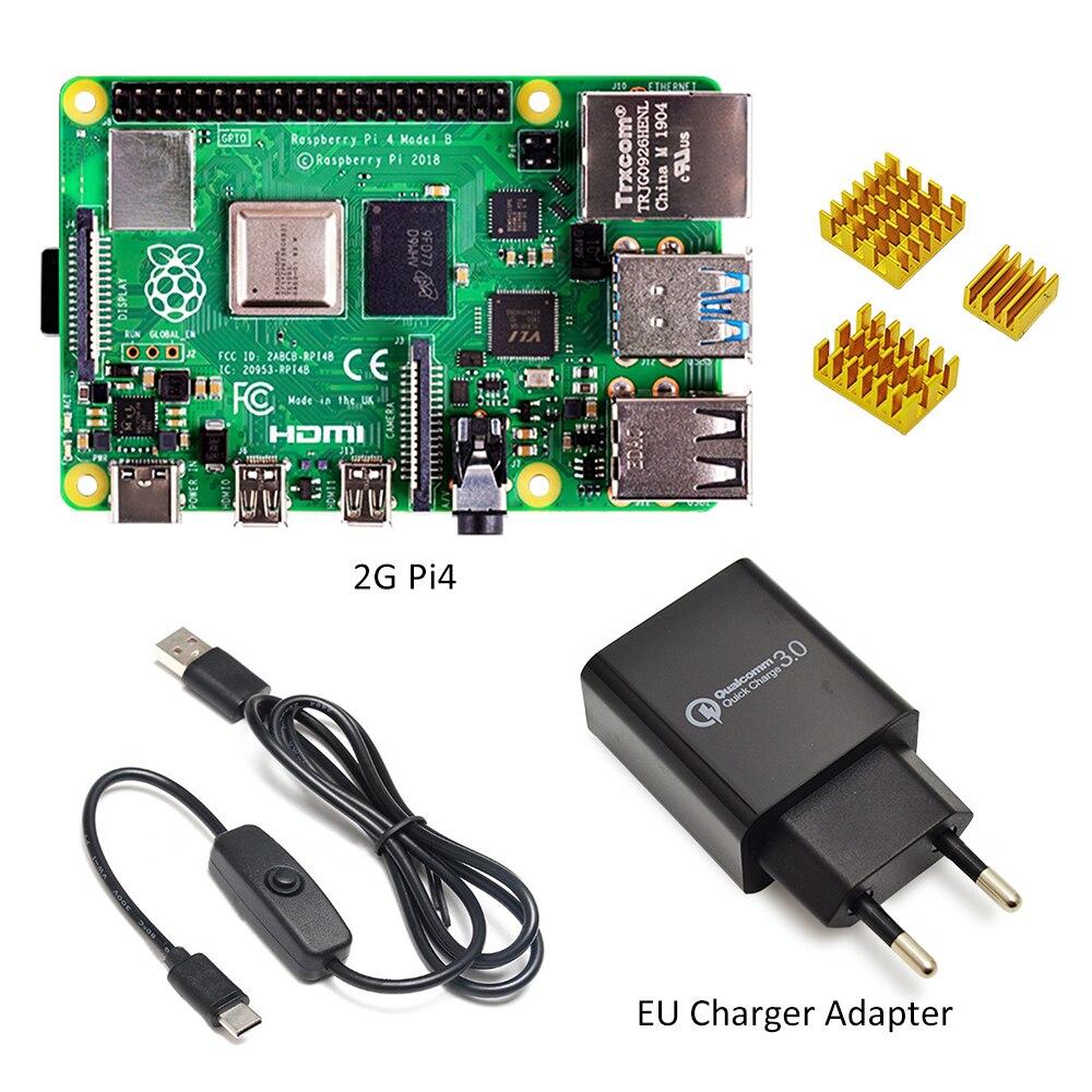 Raspberry pi 4 modelo b kit básico starter kit em estoque com interruptor de alimentação linha tipo-c interface ue/eua adaptador de carregador e dissipador de calor