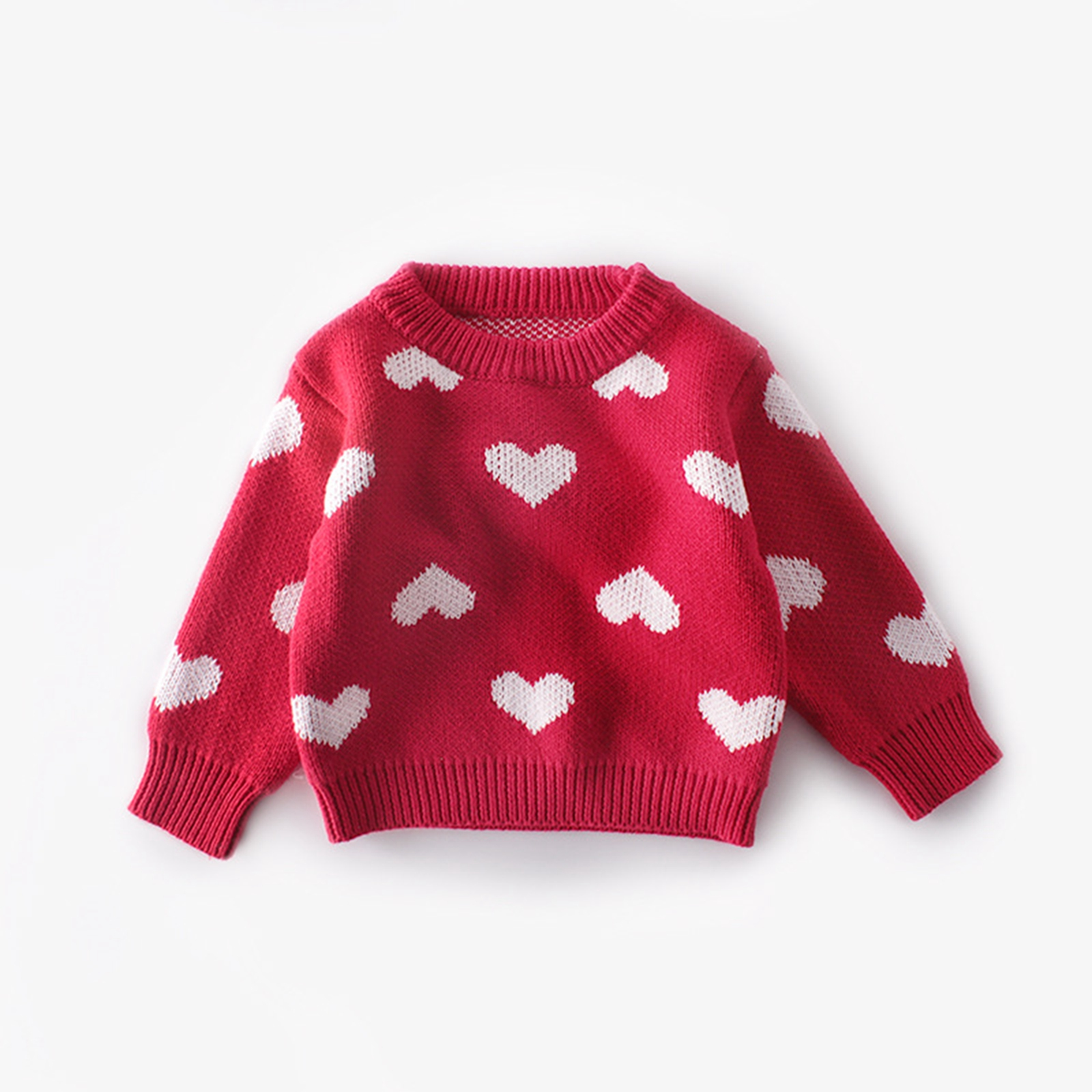 Baby Girl Hearts Sweaters Valentine Korean Long-sleeved Knitted Sweater Autumn Winter Fashion Heart Pattern Pullover Knitwear