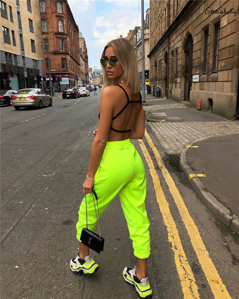 2019 New Fashion Long Pants Ladies Jeggings Casual Loose High Waist Trousers Casual Women Hip Hop Solid Light Green Pants