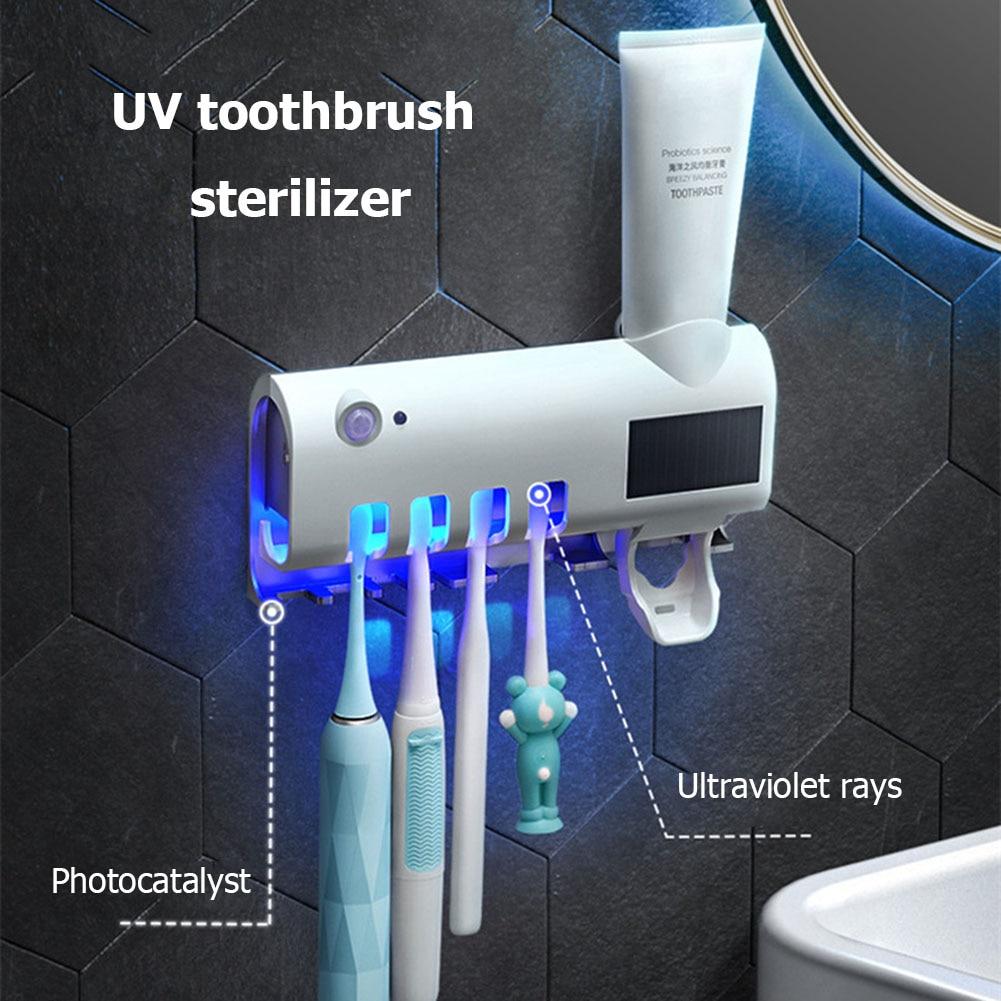 3 in 1 UV Light Toothbrush Holder Sanitizer Automatic Toothpaste Dispenser