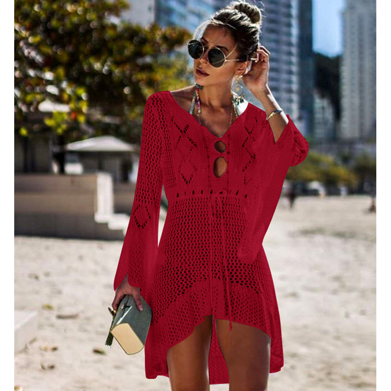 New Knitted Beach Cover Up Women Bikini Swimsuit Cover Up Hollow Out Beach Dress Tassel Tunics Bathing Suits Cover-Ups Beachwear 38