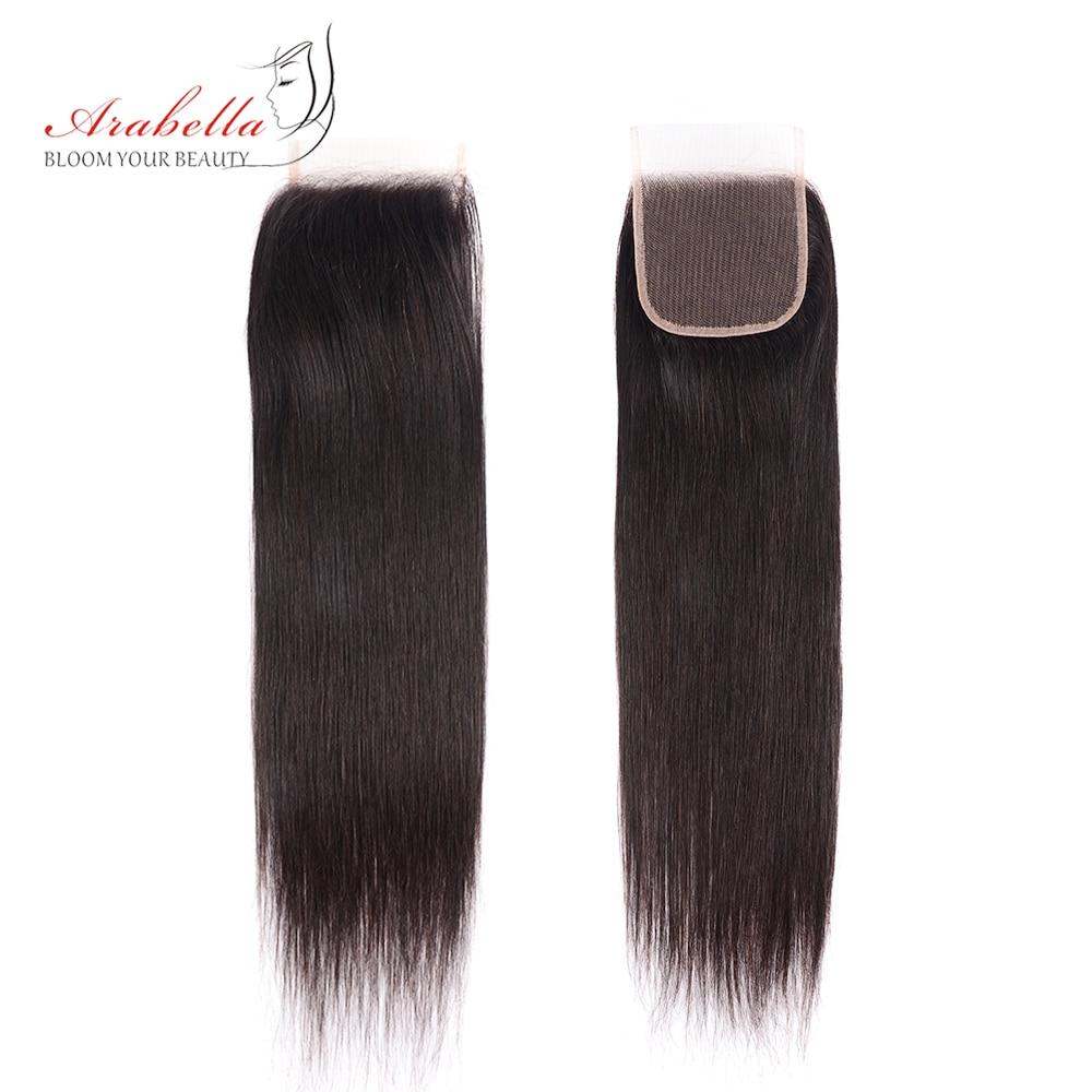 Transparent 4x4 Lace Closure With   Bundles  Straight Hair 3 Bundles With HD Closure Arabella  Hair 3