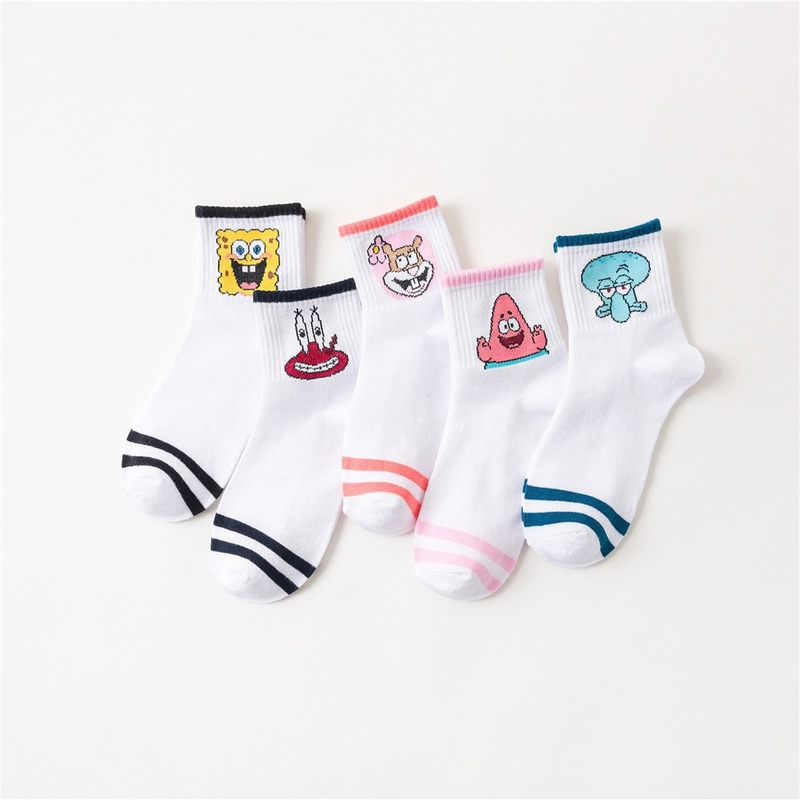 Cartoon Anime Captain Eugene H Armor Abs Krabs Patrick Star Squidward Tentacles Men Couple Crew Socks Cotton Fun Sporting Sock