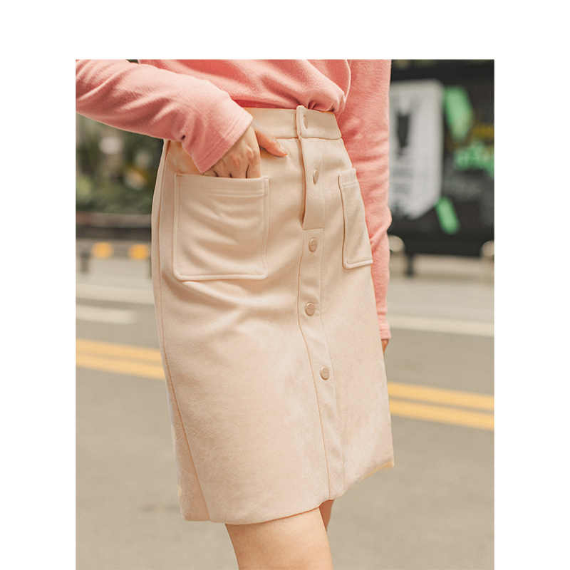 INMAN 2019 Autumn Winter New Arrival Medium Waist Fashion All Matched Solid Young Girl Peach Skin Velvet Slim Women Short Skirt