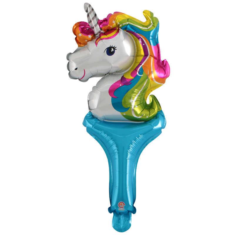 素敵なミニハンドヘルドユニコーン箔ヘリウム風船子供の好意誕生日プレゼントのおもちゃパーティーの装飾ベビーシャワーの子供ユニコーングロボス