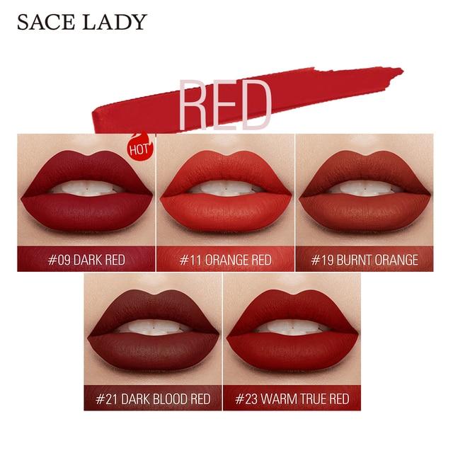 SACE LADY 19 Color Waterproof Matte Lipstick Long Lasting  Lipsticks Lip Sticks Easy to Wear Matte Makeup Lipstick Cosmetic 3