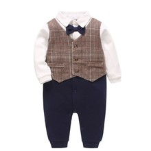 Spring Autumn New Born Baby Clothes Fashion Europe Style Gentleman Boy Romper Bow Birthday Party Pants