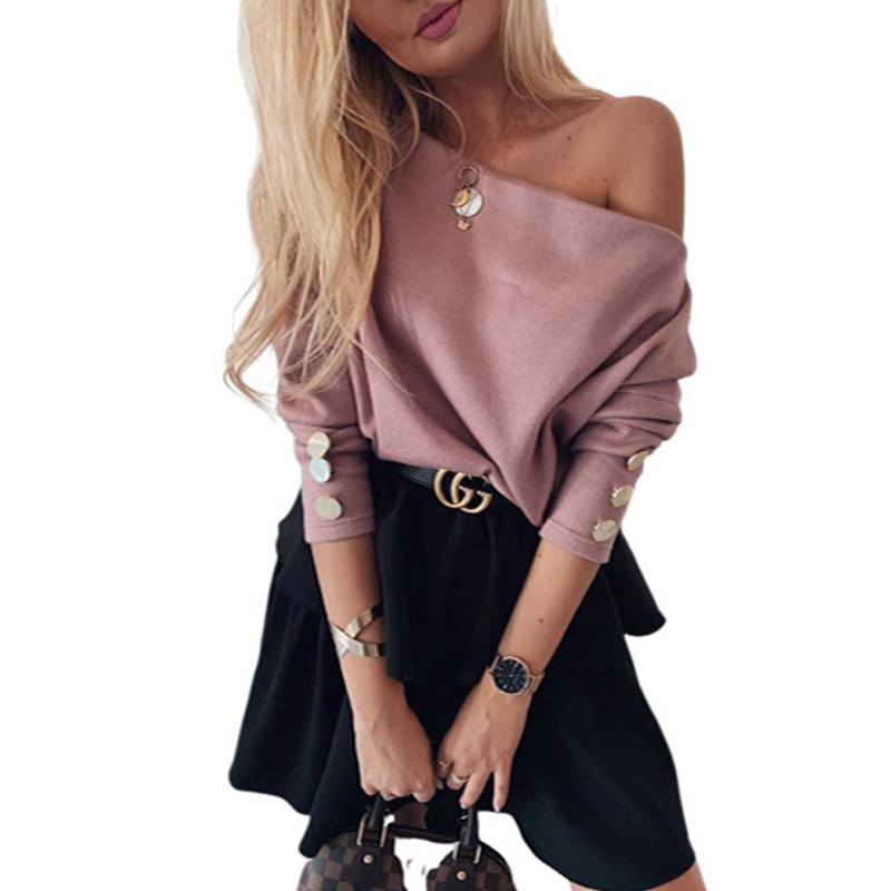 ELSVIOS Women Sexy Slash Neck Knitted Sweater Autumn Winter Off Shoulder Long Sleeve Button Pullover Femme Solid Streetwear Tops 5