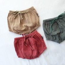 Летние хлопковые блумеры для маленьких мальчиков и девочек, милые летние шорты для малышей, детские дешевые качественные шорты хлопок креп, высокая талия