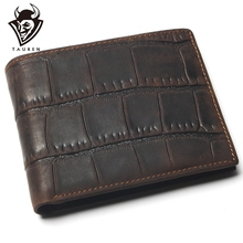 High Quality 100% Genuine Leather Wallet With Card Page Crocodile Style Crazy Horse Leather Wallet