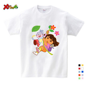 T-shirt enfants blanc et confortable   Vêtements d'été en pur coton, pour filles/garçons/Babys/enfants, 2019