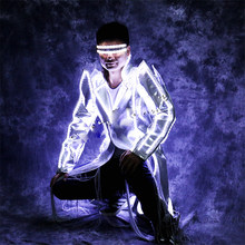 ballroom dance MJ jacket coat White led light costumes party wears stage cloth luminous glowing Windbreaker glasses show dj(China)