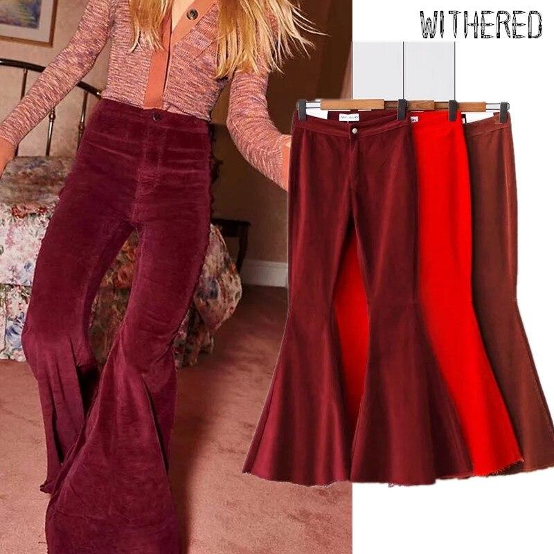 Withered  Corduroy Flare Pants Women Fashion Blogger Vintage High Waits Corduroy Pantalones Mujer Pantalon Femme Trousers Women