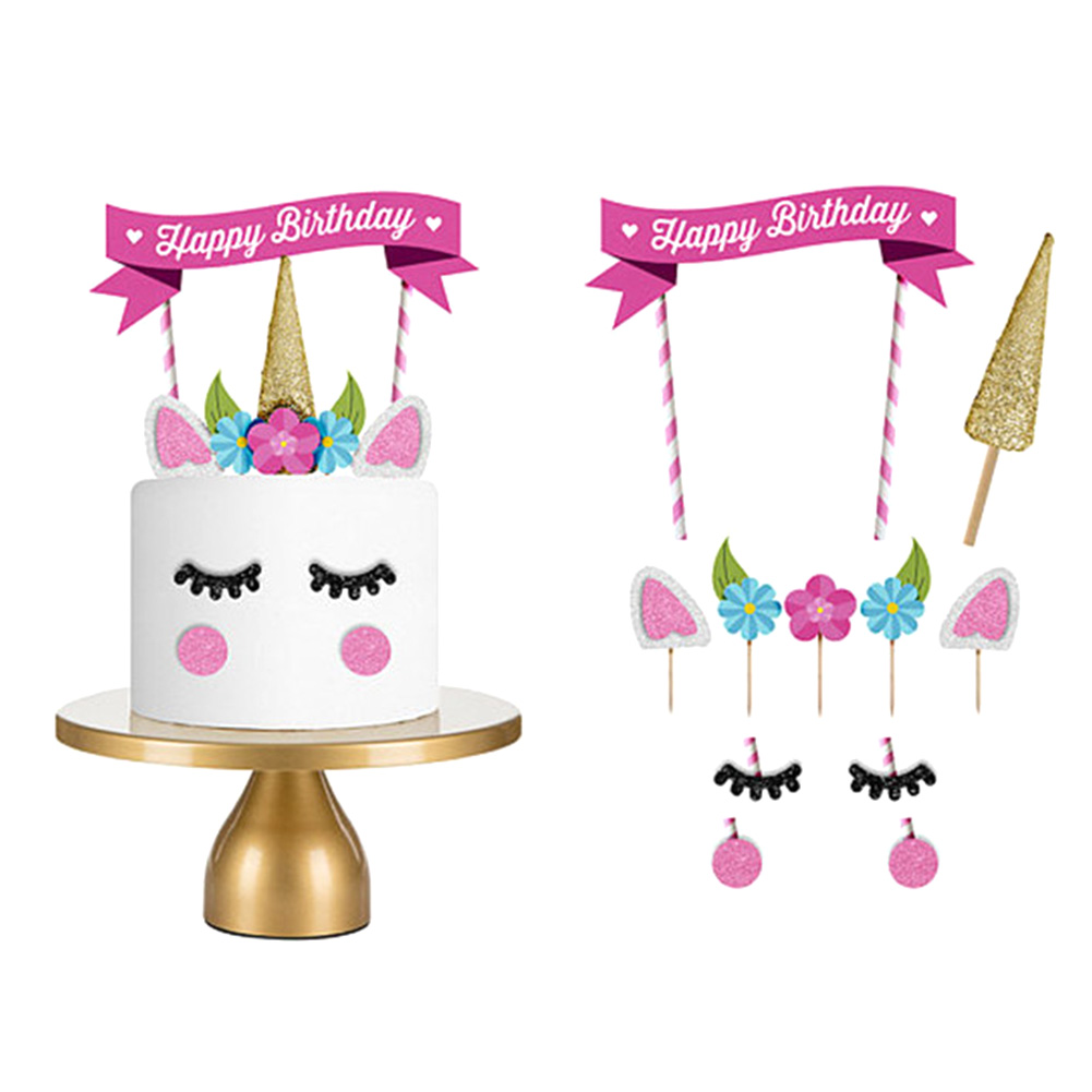 1 комплект ювелирных изделий ручной работы; Цвет: розовый, золотистый; Единорог вечерние кекс украшения выпечки с днем рождения вечерние фла...