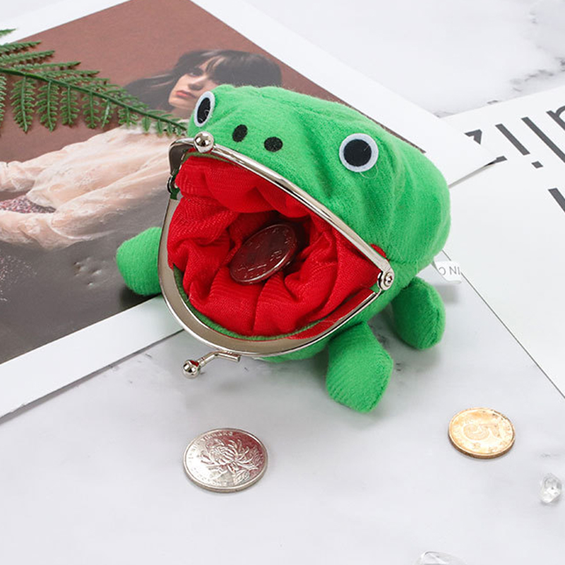 Anime Frog Wallet Coin Purse Funny Plush Frog Cartoon Cosplay Prop For Women Little Stuff Money Bag Accessories