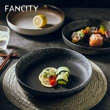 Большая круглая тарелка fancity домашняя керамическая для риса