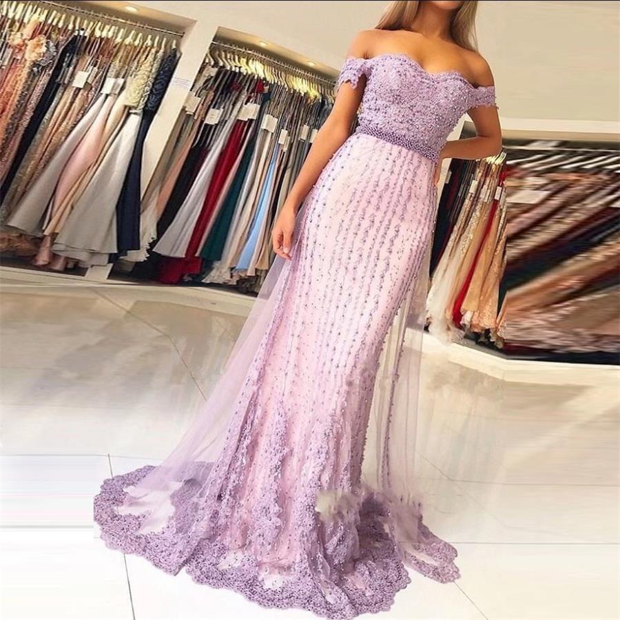 Robes de soirée sirène lilas robes formelles avec perle gala jurken balo elbiseleri robe de bal Applique épaule dénudée
