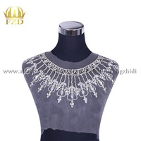 FZD 1 Piece Bodice Collar Applique Beaded Rhinestone Patches for Wedding Dress DIY Bridal Decoration With Gauze Sparkle