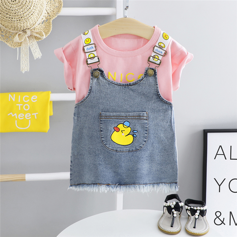 HYLKIDHUOSE 2020 Summer Baby Girls Clothing Sets Toddler Infant Shorts Sleeve T Shirt Cartoon Denim Dress Children Kids Clothes