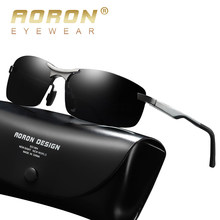 Aoron Semi-Rimless Mens Polarized Sunglasses Driver Sunglasses Men, Aluminum Magnesium Frame Sun Glasses UV Protection