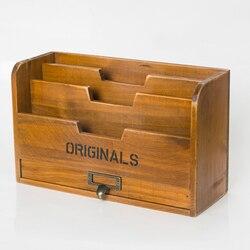 Szafka do przechowywania z litego drewna retro gazeta książki magazyn box stojak na gazety folder z szufladą