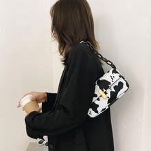 Vintage skórzane torebki damskie bagietki moda mleko wzór krowa panie pod pachami torby na ramię dziewczyny portfel dziecięcy Bolso Mujer # Y30 tanie tanio SANGOOLNA CN (pochodzenie) Poliester Wszechstronny Torby podróżne zipper Podróż torba 0902 SOFT Japan style polyester