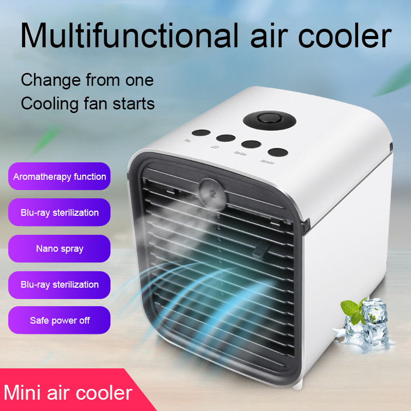 Mini Air Conditioner Personal Space Air Cooler With Ice Cubes Portable Quick Air Conditioner Fan Home Office Bedroom Air Cooler