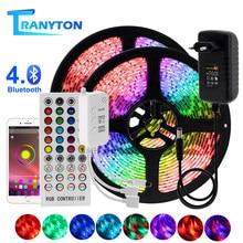 Bande lumineuse RGB LED 5050, 2835, Flexible, 10M 15M 20M 12V, lumière LED, ruban d'éclairage + adaptateur secteur + télécommande musicale Bluetooth