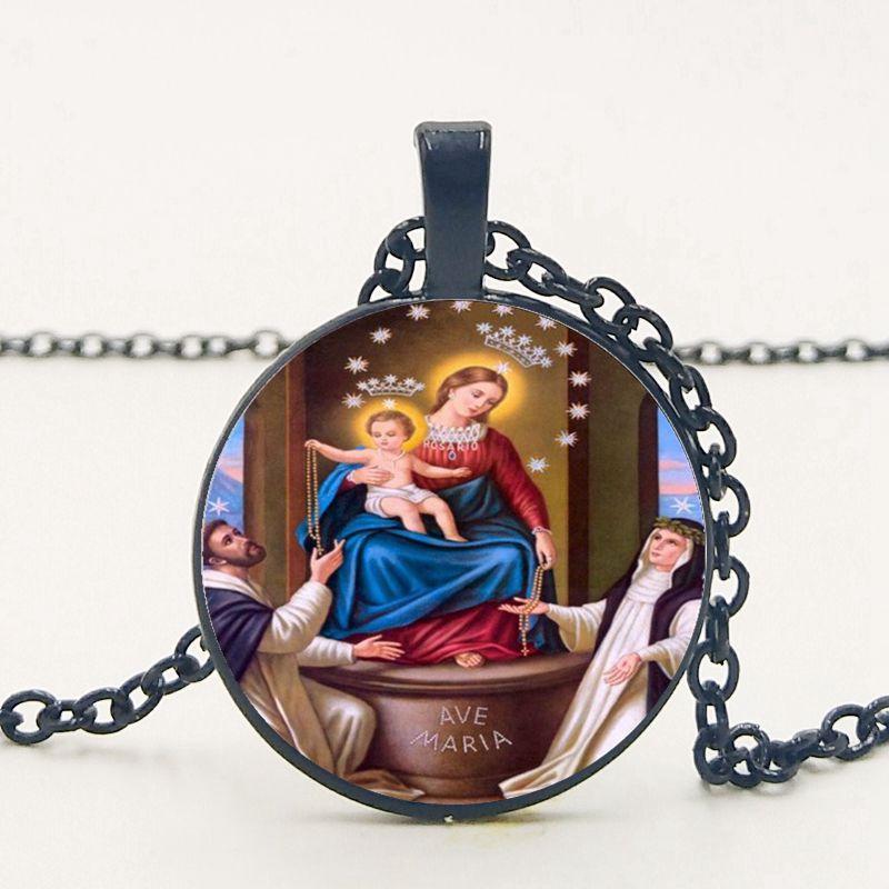 2019 Nova Mary Católica Maria Rosa Festival de Madonna Pingente de Colar Camisola Cadeia Feminina Colar Crença