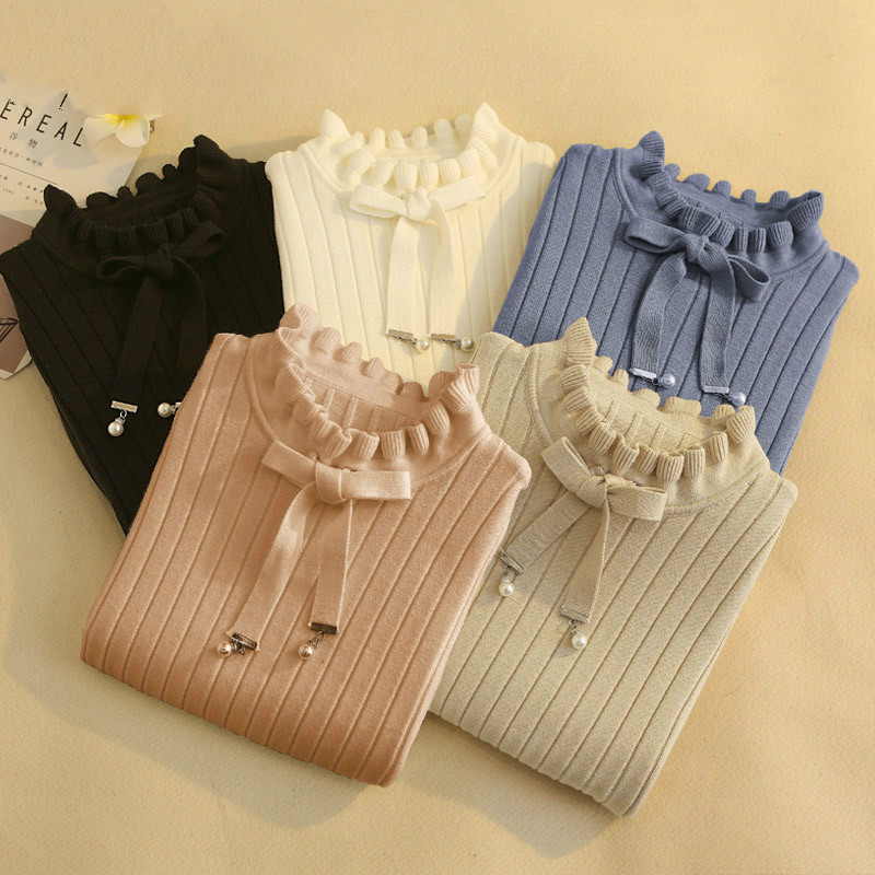 Casual Spring Slim Sweater Winter Knitted Sweater New Lace Up Flare Long Sleeve Ruffle Knitting Pullover Women Sweaters
