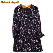 купить Girls Long Sleeve Dress Autumn Winter Dress Princess Cotton Kids Cartoon Print Girl Dress Children Clothing Baby Clothes 3-8T дешево