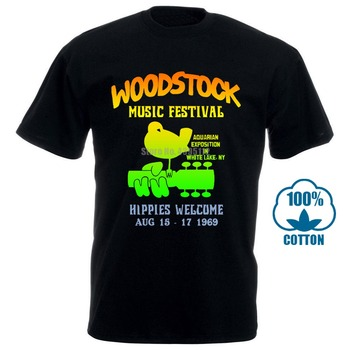 Summer 2018 Famous Brand Authentic Woodstock Music Festival Bird Guitar Logo Hippies Welcome 1969 T Shirt Band Logo Tee Shirt Fo