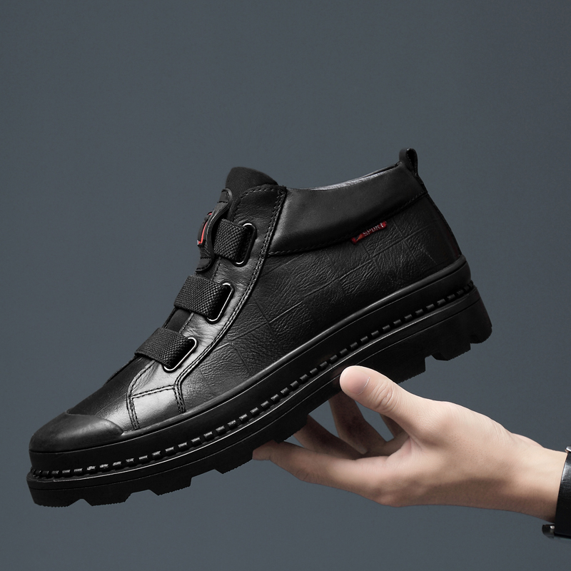 Warm Plush Men's Winter Shoes Thick Bottom Waterproof Ankle Boots With Fur Warm Men Soft Classic Black Sneakers Snow Boots S5