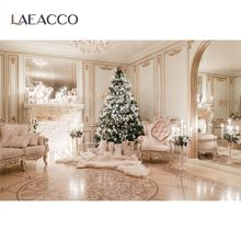 Laeacco Christmas Backdrops Luxury Royal Party Tree Fireplace Gift Candle Chic Wall Baby Photography Background For Photo Studio