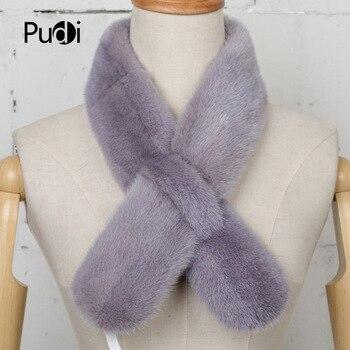 цена на Pudi SF740 2020 Winter women's genuine mink fur scarf new fashion real mink fur scarf  new brand  scarves