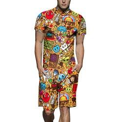 Короткие мужские комбинезоны, пижамы, модные пижамы, Мужская одежда для сна, короткий рукав, комбинезон для мужчин, полный мультяшный принт, ...