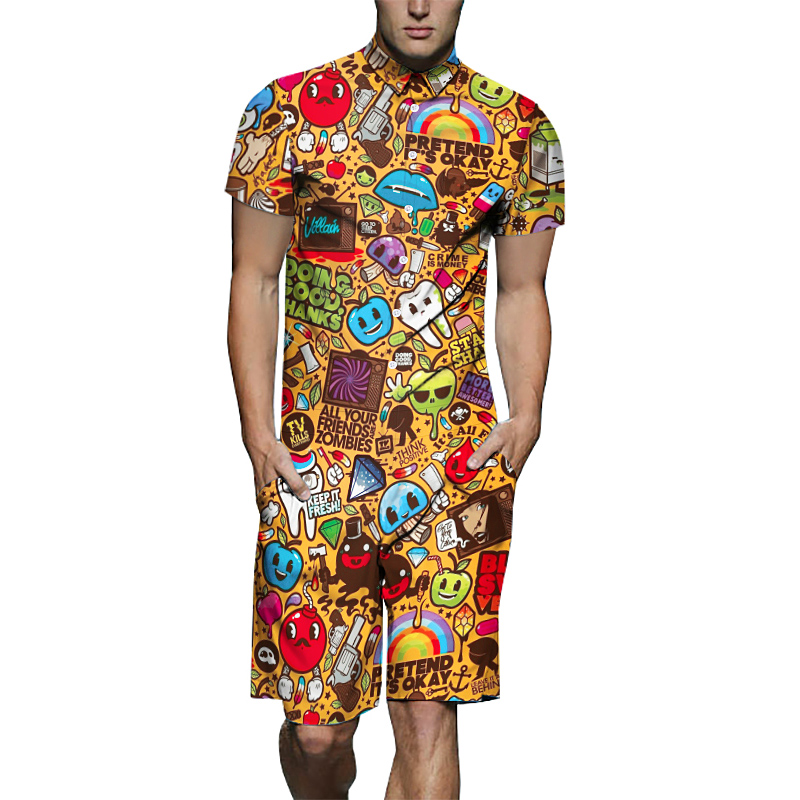Short Mens Jumpsuits Pyjamas Fashion Pajamas Men's Sleepwear Short Sleeves Jumpsuit For Male Full Cartoon Printing Adult Onesie