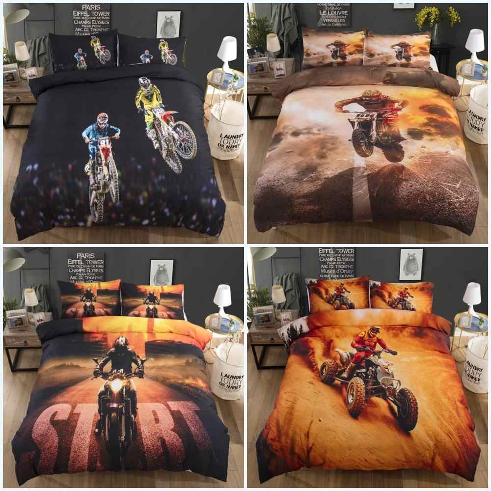 3D Dirt Bike Print Bedding Set Kids Boys Comforter Cover for Youth Teens Motocross Rider Extreme Sports Motorcycle Duvet Cover Set Soft Microfiber Quilt Cover Decor 3Pcs Bedding with Zipper Full
