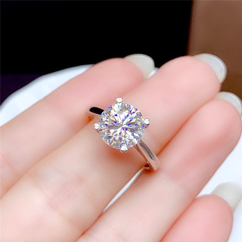 Moissanite-bague en diamant fin pour femmes, bijoux fins pour femmes, cadeau d'anniversaire en argent Sterling 925, 0.5CT 1CT 2CT 3CT VVS de laboratoire 5