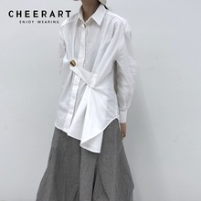 Cheerart White Shirt Womens Tops And Blouses Plus Size Long Sleeve Blouse Button Up Shirt Fall 2019 Designer Top Streetwear plus size striped button up shirt