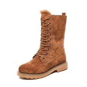 Image 4 - Centenary Vierkante hak laarzen voor vrouwen Ronde Neus vrouwen schoenen Lage (1 cm 3 cm) winter schoenen vrouwen Lace Up harige laarzen