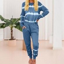 SFIT Women Pajamas Set Tie Dye Women's Pajamas Lounge Wear Homewear Suit Loungew