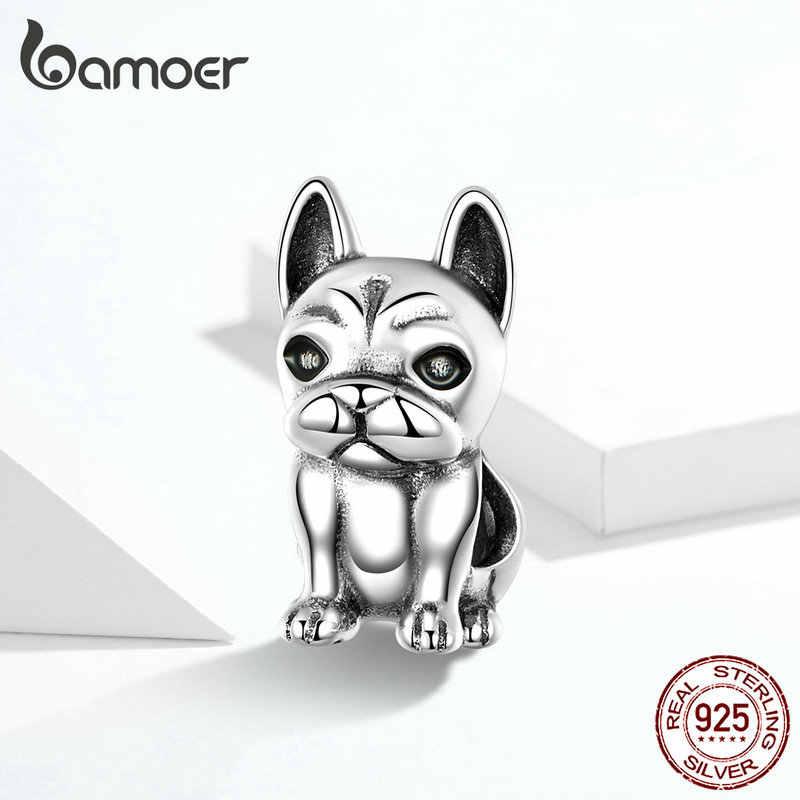 Bamoer ภาษาฝรั่งเศส Bulldog โลหะลูกปัดสำหรับผู้หญิง Silver Charm สร้อยข้อมือ 925 เงินสเตอร์ลิงยุโรปแฟชั่นเครื่องประดับ SCC1306