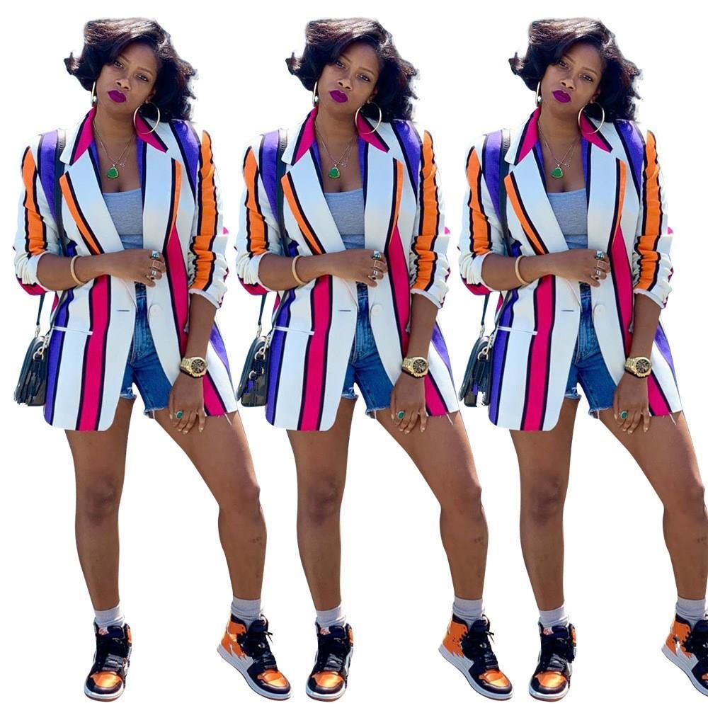 Autumn Turn-Down Collar Striped Work Blazers Women Long Sleeve Jackets Suits Coats Business Outwear