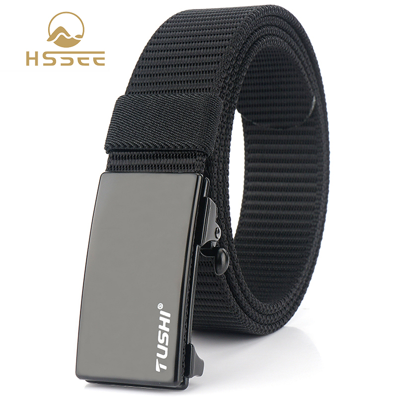 HSSEE New Mens Military Nylon Belt Matte Black Metal Automatic Buckle Army Belt 3mm Thick Soft Real Nylon Sports Fishing Belt